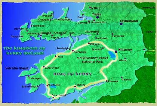 Map Of Ireland Kerry Region.Ring Of Kerry Area Attractions Irish Resorts